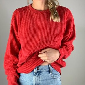Vintage Sweaters - American Eagle Red 100% Cotton Crewneck Sweater M